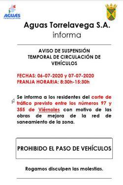 Corte de tráfico en Viérnoles por obras en la red de saneamiento